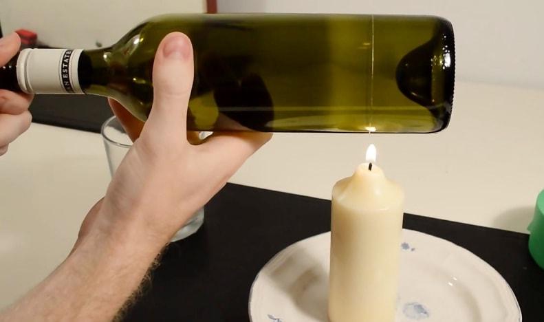 برش شیشه با شمع