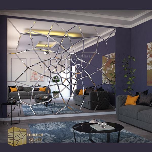 آینه کاری دیوار طرح خورشیدی