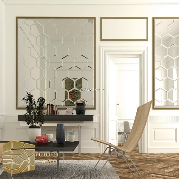آینه کاری دیوار شش ضلعی